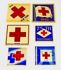 Lot of 6 Vintage 1944 56 WWII Red Cross Military War Fund Auto Decals Unused