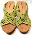 Minnetonka Lime Green Suede Slip On Wedge Sandals Size 8