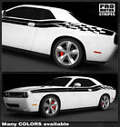 Dodge Challenger Checkered Side Double Stripes Decals 2011 2012 2013 2014