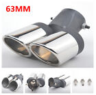 Plating Dual Pipe Exhaust Tail Pipe Tip End Throat Trim Decor Noise Reduction