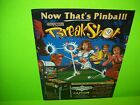Capcom BREAKSHOT 1995 Original Flipper Game Pinball Machine Promo Sales Flyer