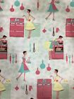 Snuggle Flannel Fabric NEW Vintage Ladies In The Kitchen 100 Cotton Sold BTY