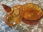 Vintage Amber Glass Candy Dish Bowl 1970's Decor.