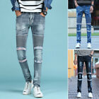 Men Biker Stretchy Jeans Skinny Denim Pants Zipper Frayed Biker Trousers Vintage