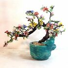 GLASS FLOWER BONSAI TREE IN A TURQUOISE POTTERY BIRD THEME VINTAGE PLANTER