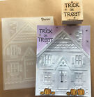 Stampin Up retired TRICK OR TREAT Wood Stamp  HOUSE Embossing folder Halloween