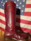 SPORTY TALL FRYE MELISSA BUTTON RIDING BOOT SIZE 6 RICH BURGUNDY LEATHER SO HOT