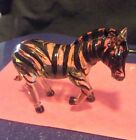 COLLECTIBLE MINIATURE Glass Figurine Small Art Animal ZEBRA Great Details