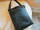 DIVOGA LARGE BLACK PATENT LEATHER LOOK ZIP TOP SHOULDER BAG PURSE TOTE NEW LINED