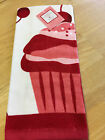 NWT Cupcake Cherry On Top Kitchen Towel Red Pink Valentines Day