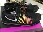 Womans Nike Flyknit Running Athletic Shoes Size 105 Black  Florescent Rare