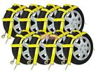 (8 Pack) Wheel Net Basket Auto Tow Dolly Straps w/ Snap Hooks (No Ratchet)