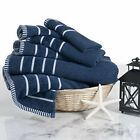 Lavish Home 100% Cotton Rice Weave 6 Piece Towel Set - Navy