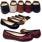 Womens Ballet Flats Quilted Pillow Stitch bow Ballerina Slip On Shoes
