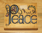 Rubber Stampede Wood Mounted Stamp PEACE with Flourish Christmas A1824F