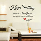 Inspiring Marilyn Monroe Keep Smiling Quote Wall Art Sticker for Girl Room Decor