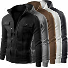 Mens Military Jacket Slim Fit Stand Collar Coat Tops Winter Outwear Blazer US