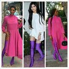 Akira 203 Pointed Toe Over Knee Thigh High Heel Stretch Elastic Boot Purple