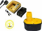 For DEWALT 3A 14.4V DW966K-2 Right Angle Cordless Drill Driver Battery + charger