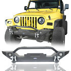 Black Textured Front Bumper W Winch Plate+D ring for 1997 2006 Jeep Wrangler TJ