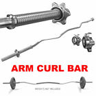 ARM CURL BAR WEIGHT LIFTING WITH SPINLOCK COLLARS HOME GYM FITNESS EZ 1 BARBELL