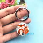 Whimsical Fox Photo Tibet Silver Keychains Rings Glass Cabochon Key chain 141