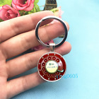 Phone Rotary Dial Art Photo Tibet Silver Key Ring Glass Cabochon Keychains 385