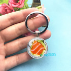 SUSHI Art Photo Tibet Silver Key Ring Glass Cabochon Keychains 489