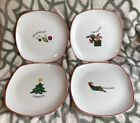 Set of 4 salad plates - Gourmet by Fitz and Floyd - Happy Holidays