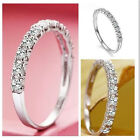 Fashion 925 Silver White Sapphire Birthstone Band Ring Wedding Women Jewelry New