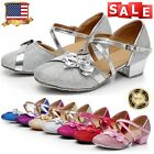GIRLS KIDS CHILDRENS MARY JANE GLITTER LOW HEEL PARTY WEDDING SANDALS SHOES USA