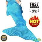 Super Soft Fluffy Hand Crocheted Mermaid Tail Blanket Sleeping Bag Child Kids