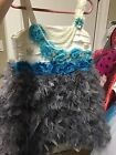 Off White And Gray Feathered Girls Dress 5 6 Boutique Style Pageant