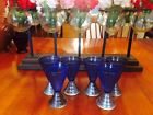 """Vintage set of 6 Blue 4.5"""" tall Glass/Shot PAT Appld For Marked"""