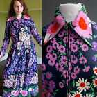 VTG 70s Mod GoGo Hippie Floral Maxi Hostess Dress Oversized Pointy Collar M