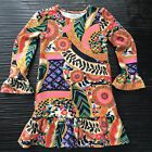 Lands End Girls Dress 6x Straight w Ruffle Hem Bell Sleeves Fun Colorful Print