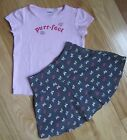 EUC LOT GYMBOREE CLASSROOM KITTY PINK TOP TEE GRAY BOW SKIRT OUTFIT SET 4 4T