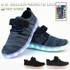 Kids LED Light Up Shoes Sneakers w Remote Boys Girls USB Charger Hook