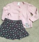 Gymboree CLASSROOM KITTY Outfit 3 3T Skirt skort Sweater Gray Pink Bows Lot BTS
