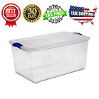 Large Plastic Storage Tote Container Clear Stackable Box 6 Set with Lid Bin 66QT