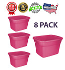 8 Pack Plastic Tote Box 18 Gallon Pink Stackable Storage Bin Container W Lid Set