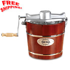 Old Fashioned Ice Cream Maker Electric Hand Crank Machine 4-Quart Wood Bucket