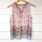 Knox Rose Small Tank Top Boho Pink Navy Blue White Gray Embroidered