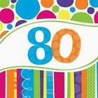 Bright  Bold 80th Birthday Lunch Napkins 18 Pack Party Decoration