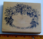 Wreath wood mounted rubber stamp by PSX