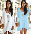 Women Summer Party Chiffon Solid Top Beach Shift Mini Dresses Clothes Plus Size