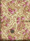 Tickled Pink Print rose blue tan on cream Fabric Robyn Pandolph SSI 1yd+32