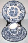 1930s Royal Staffordshire Tonquin Blue Clarice Cliff 8pcs Plates Cup England