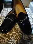 Womens Sam  Libby Black Patent Leather Loafers With Cute Buckle