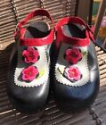 Hanna Andersson Womens Wooden Black Leather Clogs w flowers Shoes size 39